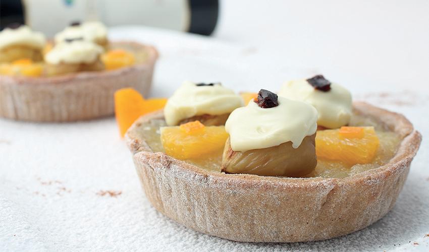 Crostatine di castagne all'olio oliva e vinsanto con crema di mele profumata all'olio di arancia